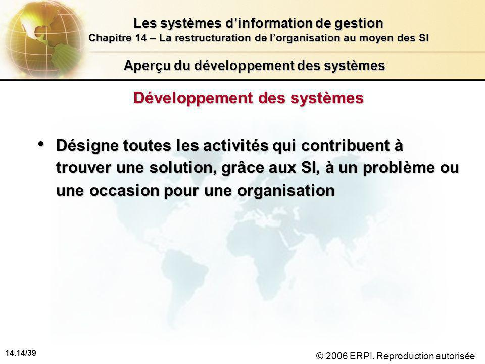 14.14/39 Les systèmes d'information de gestion Chapitre 14 – La restructuration de l'organisation au moyen des SI © 2006 ERPI.