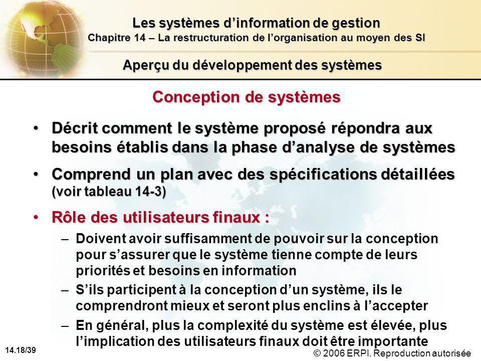 14.18/39 Les systèmes d'information de gestion Chapitre 14 – La restructuration de l'organisation au moyen des SI © 2006 ERPI.