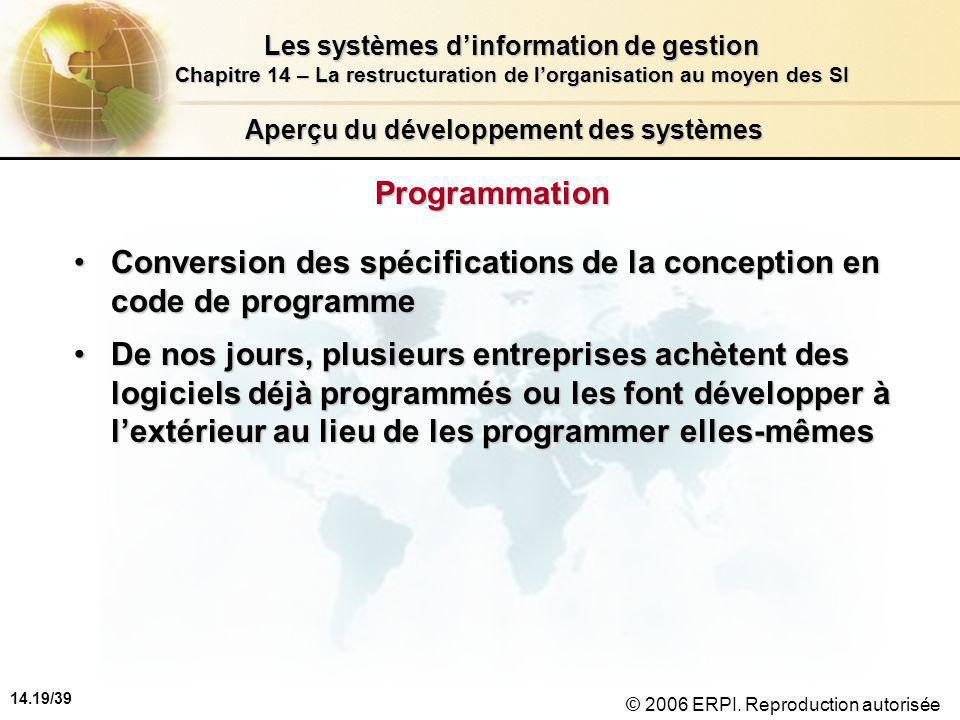 14.19/39 Les systèmes d'information de gestion Chapitre 14 – La restructuration de l'organisation au moyen des SI © 2006 ERPI.