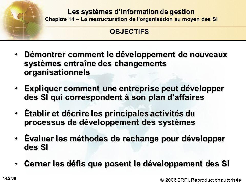 14.2/39 Les systèmes d'information de gestion Chapitre 14 – La restructuration de l'organisation au moyen des SI © 2006 ERPI.