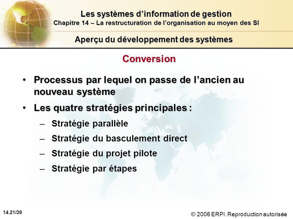 14.21/39 Les systèmes d'information de gestion Chapitre 14 – La restructuration de l'organisation au moyen des SI © 2006 ERPI.