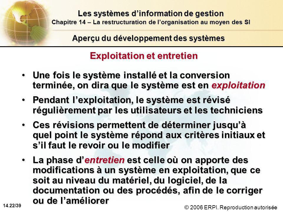 14.22/39 Les systèmes d'information de gestion Chapitre 14 – La restructuration de l'organisation au moyen des SI © 2006 ERPI.