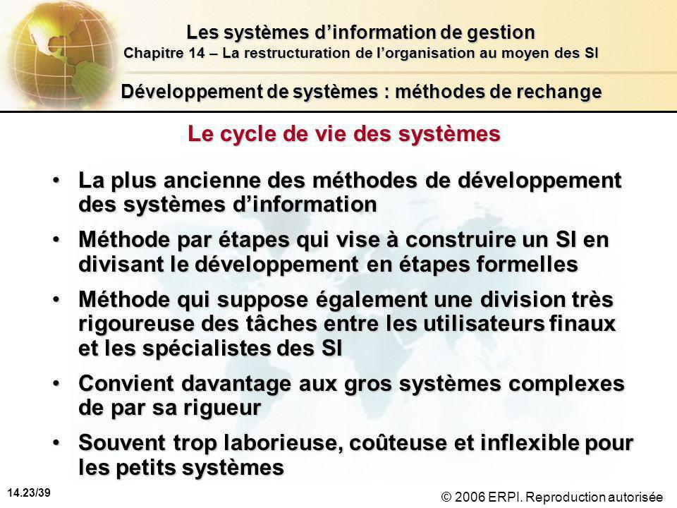 14.23/39 Les systèmes d'information de gestion Chapitre 14 – La restructuration de l'organisation au moyen des SI © 2006 ERPI.