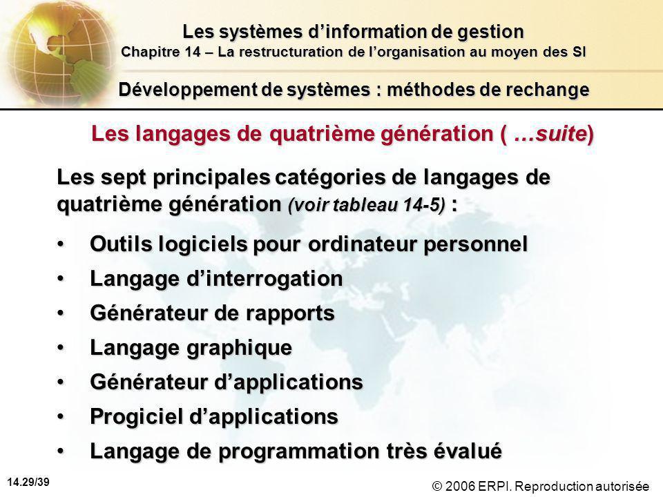 14.29/39 Les systèmes d'information de gestion Chapitre 14 – La restructuration de l'organisation au moyen des SI © 2006 ERPI.
