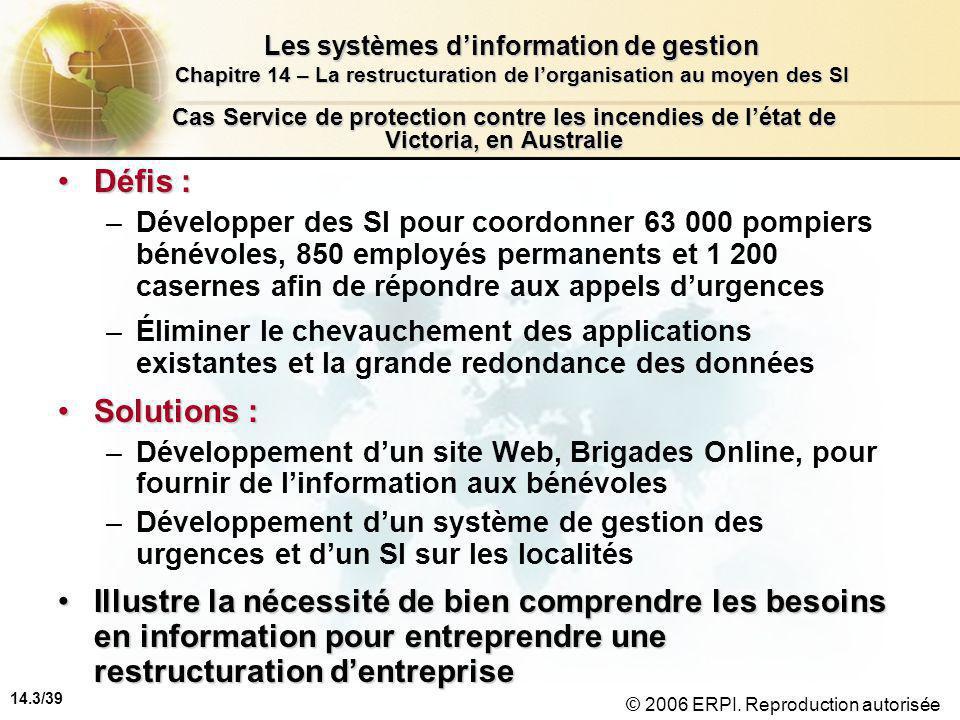 14.3/39 Les systèmes d'information de gestion Chapitre 14 – La restructuration de l'organisation au moyen des SI © 2006 ERPI.