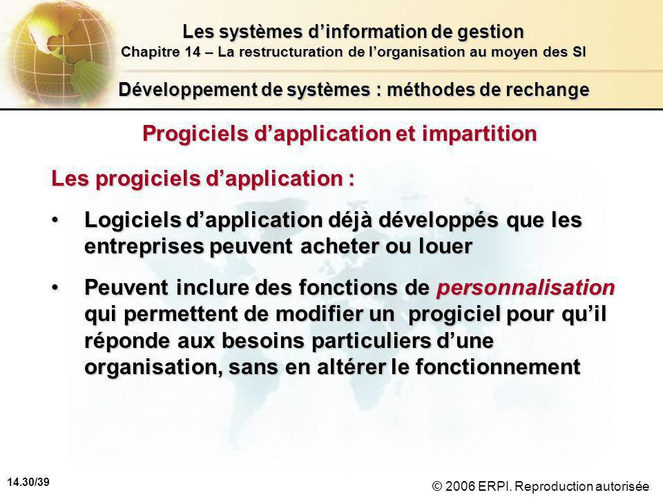14.30/39 Les systèmes d'information de gestion Chapitre 14 – La restructuration de l'organisation au moyen des SI © 2006 ERPI.