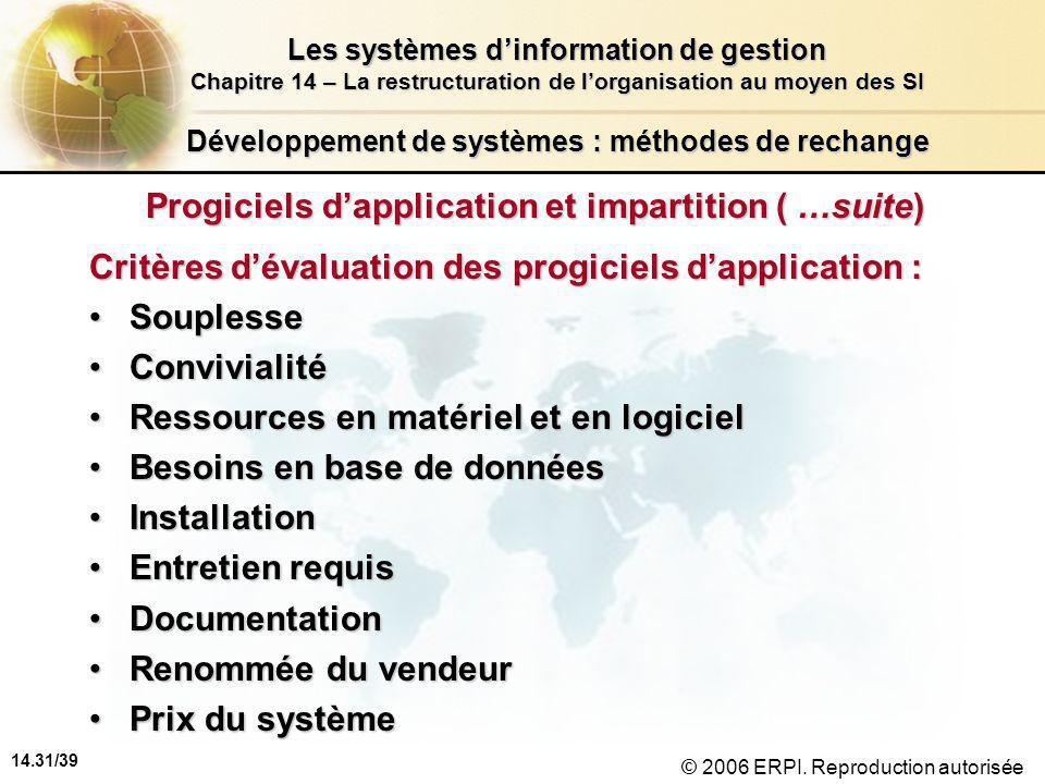 14.31/39 Les systèmes d'information de gestion Chapitre 14 – La restructuration de l'organisation au moyen des SI © 2006 ERPI.