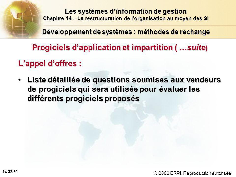 14.32/39 Les systèmes d'information de gestion Chapitre 14 – La restructuration de l'organisation au moyen des SI © 2006 ERPI.