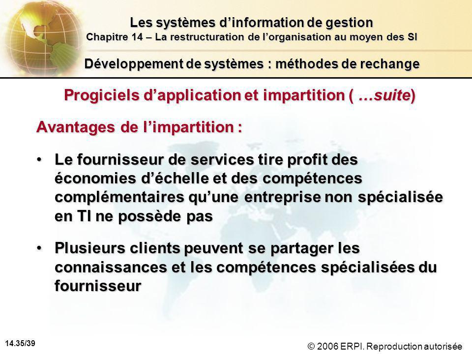 14.35/39 Les systèmes d'information de gestion Chapitre 14 – La restructuration de l'organisation au moyen des SI © 2006 ERPI.