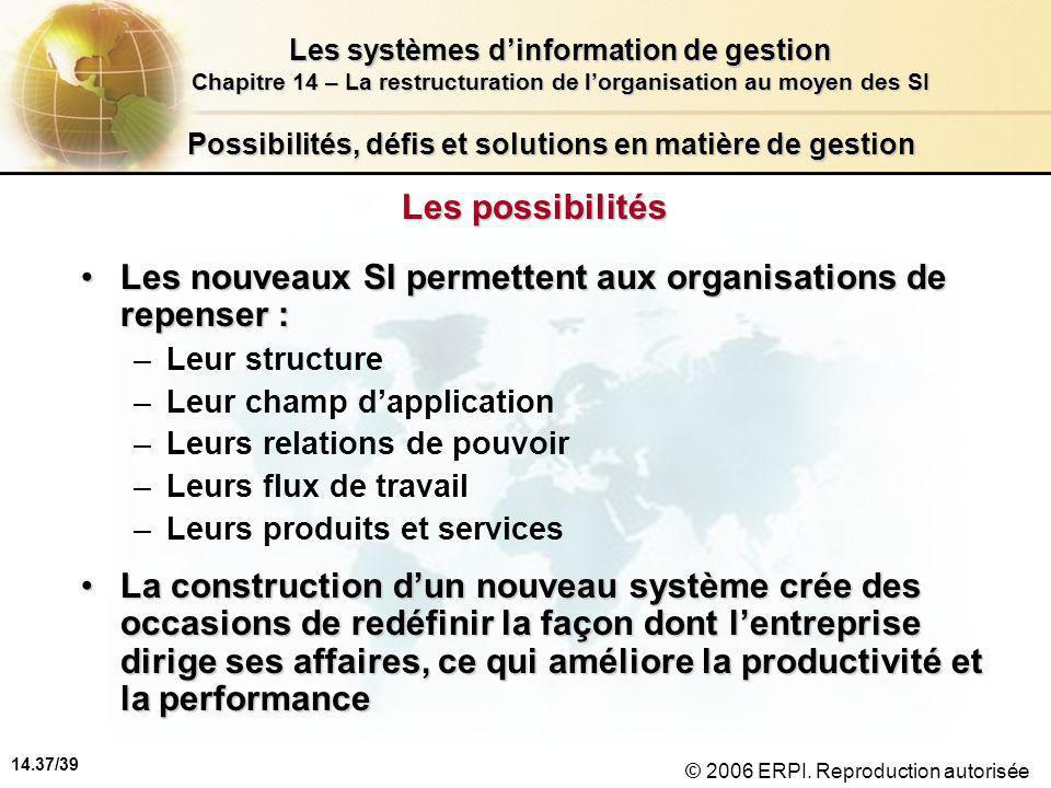 14.37/39 Les systèmes d'information de gestion Chapitre 14 – La restructuration de l'organisation au moyen des SI © 2006 ERPI.
