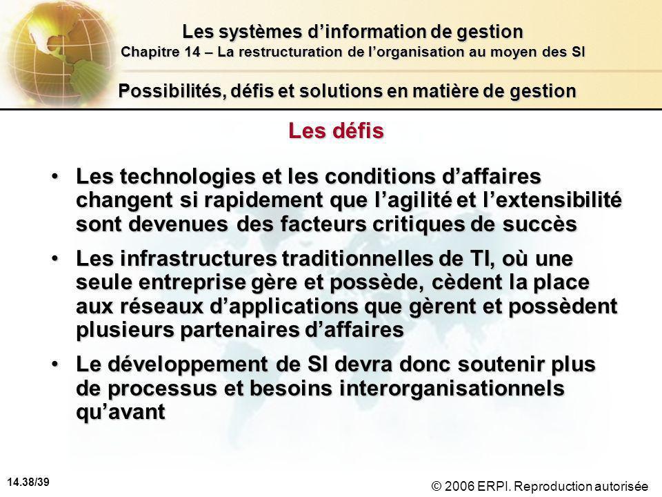 14.38/39 Les systèmes d'information de gestion Chapitre 14 – La restructuration de l'organisation au moyen des SI © 2006 ERPI.