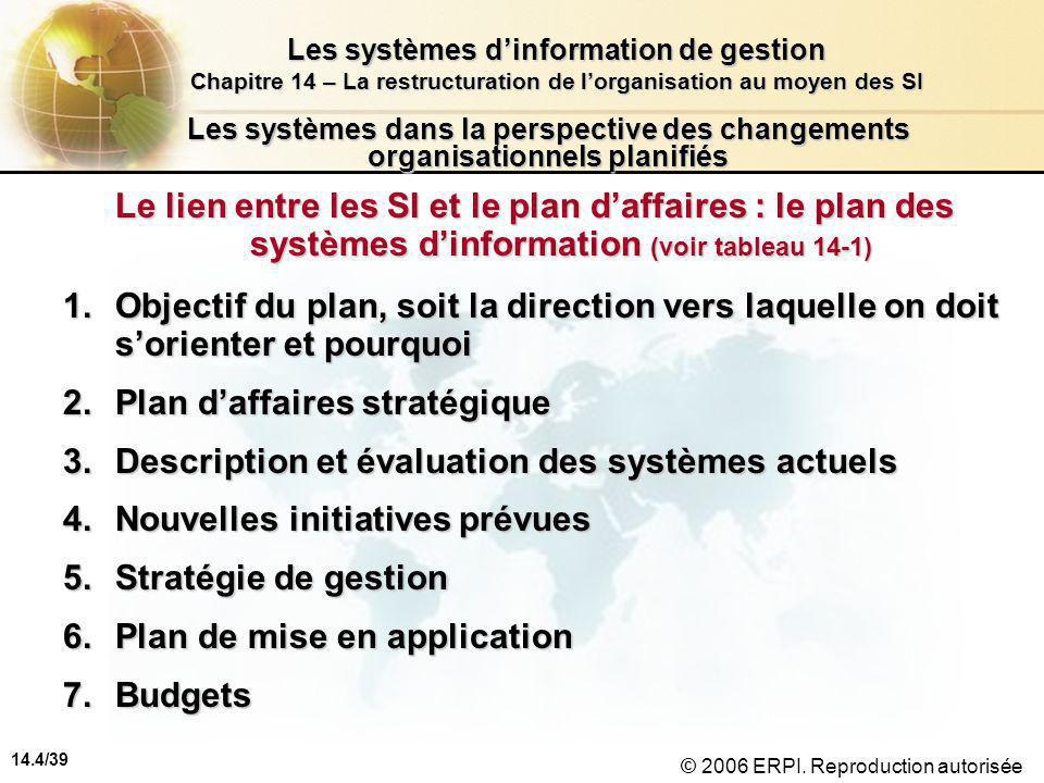 14.4/39 Les systèmes d'information de gestion Chapitre 14 – La restructuration de l'organisation au moyen des SI © 2006 ERPI.