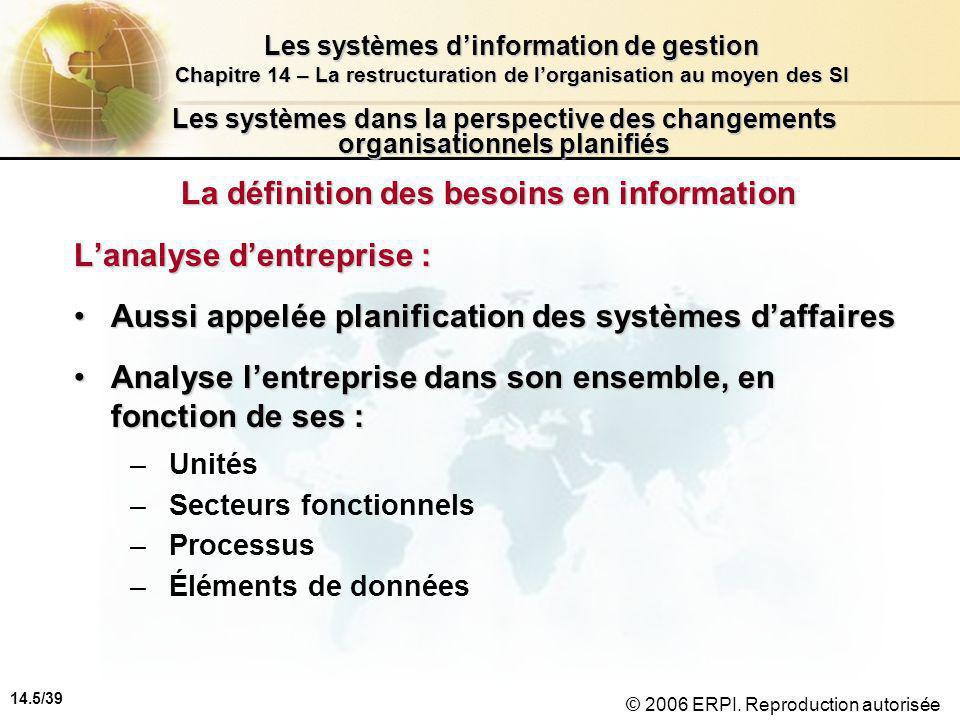 14.5/39 Les systèmes d'information de gestion Chapitre 14 – La restructuration de l'organisation au moyen des SI © 2006 ERPI.
