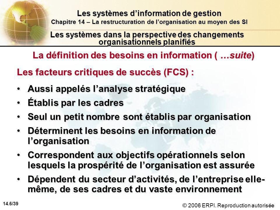 14.6/39 Les systèmes d'information de gestion Chapitre 14 – La restructuration de l'organisation au moyen des SI © 2006 ERPI.