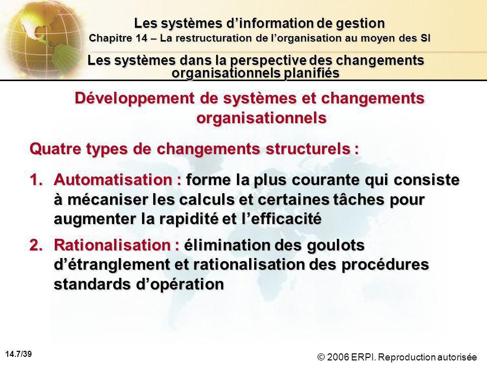 14.7/39 Les systèmes d'information de gestion Chapitre 14 – La restructuration de l'organisation au moyen des SI © 2006 ERPI.