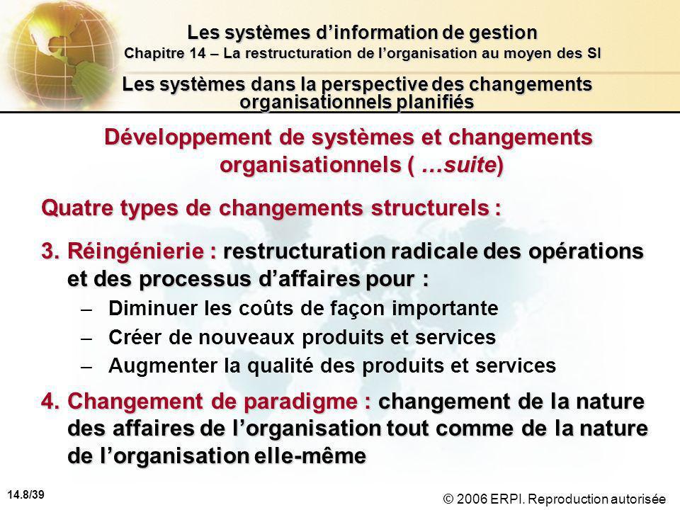 14.8/39 Les systèmes d'information de gestion Chapitre 14 – La restructuration de l'organisation au moyen des SI © 2006 ERPI.