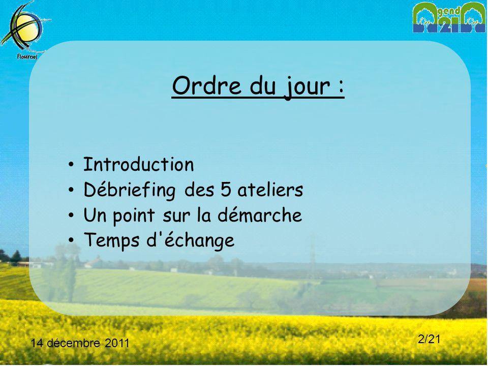 14 décembre 2011 2/21 Ordre du jour : Introduction Débriefing des 5 ateliers Un point sur la démarche Temps d échange