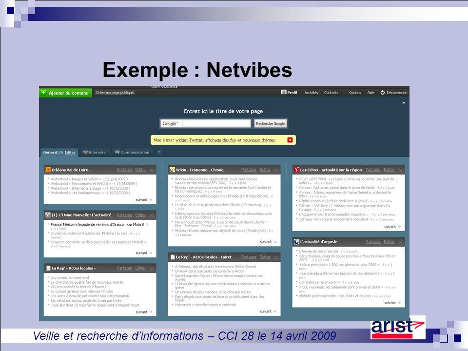 Veille et recherche d'informations – CCI 28 le 14 avril 2009 Exemple : Netvibes