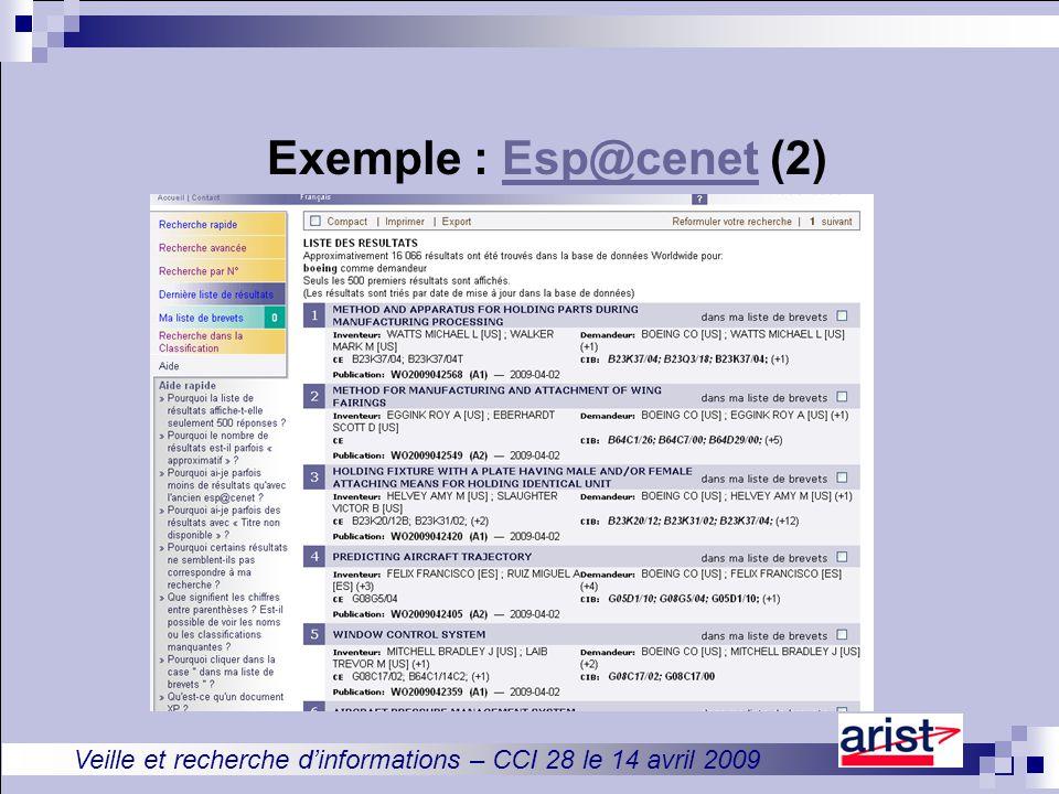Veille et recherche d'informations – CCI 28 le 14 avril 2009 Exemple : Esp@cenet (2)Esp@cenet