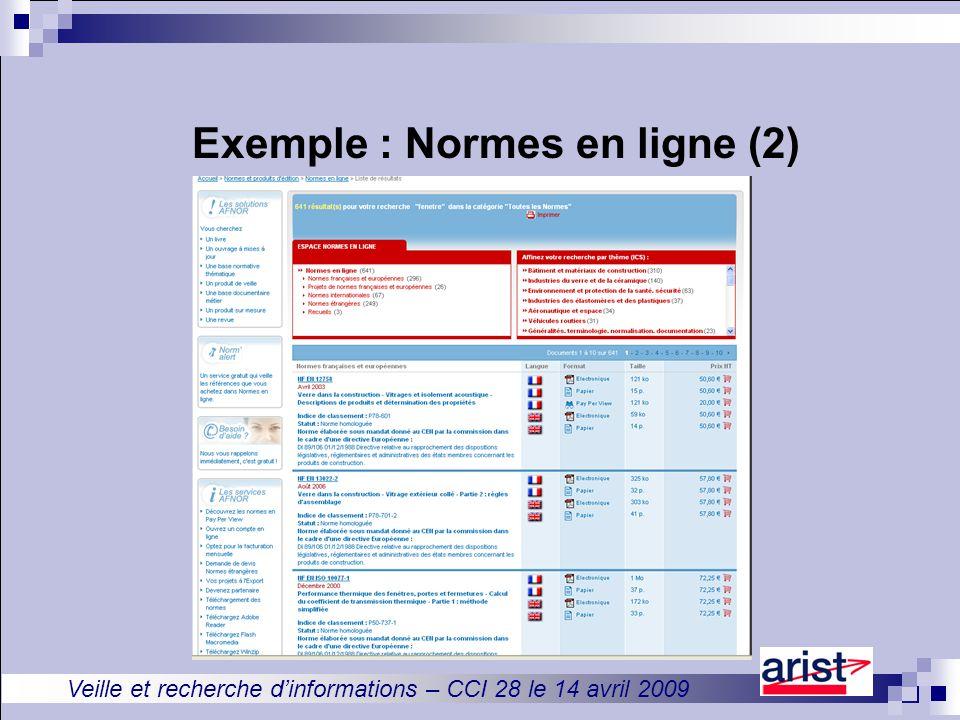 Veille et recherche d'informations – CCI 28 le 14 avril 2009 Exemple : Normes en ligne (2)