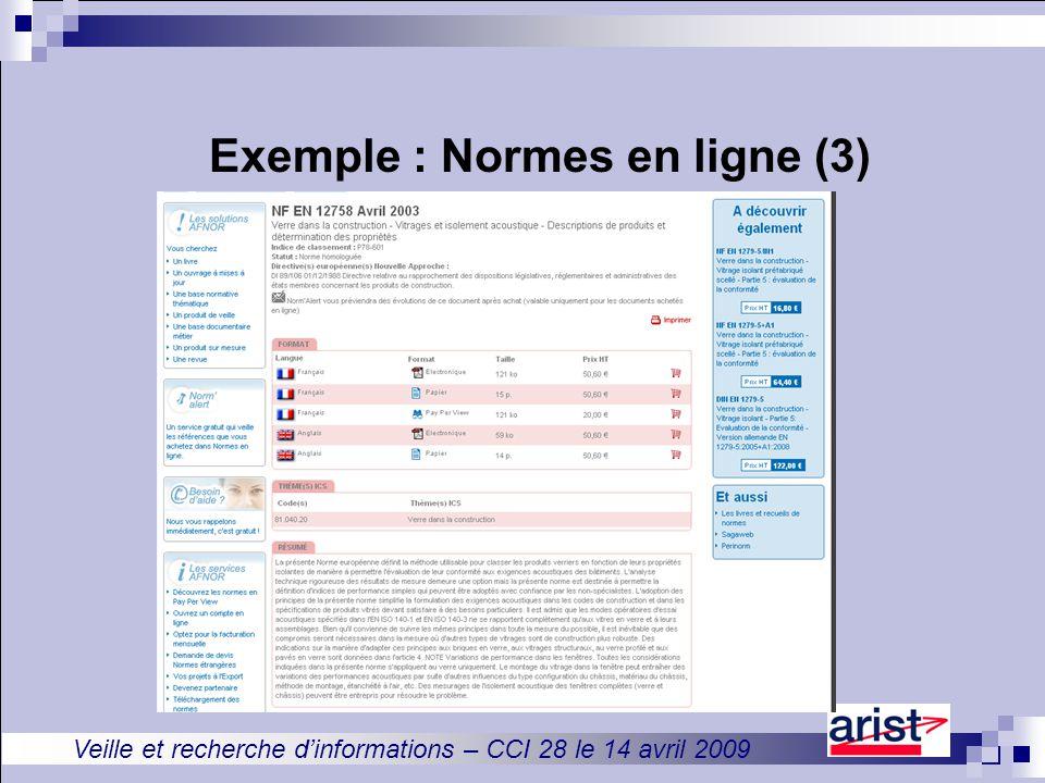 Veille et recherche d'informations – CCI 28 le 14 avril 2009 Exemple : Normes en ligne (3)