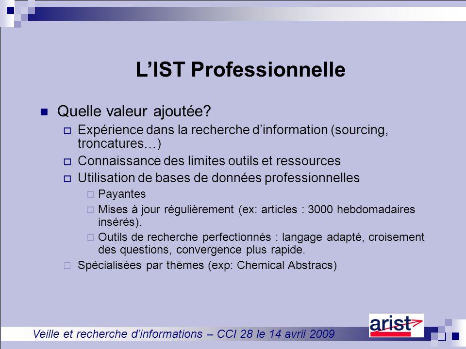 Veille et recherche d'informations – CCI 28 le 14 avril 2009 L'IST Professionnelle Quelle valeur ajoutée.