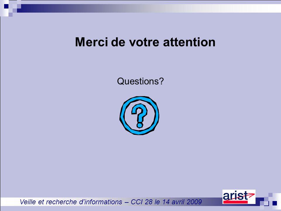 Veille et recherche d'informations – CCI 28 le 14 avril 2009 Merci de votre attention Questions