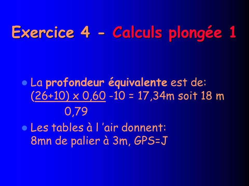 Exercice 4 - Calculs plongée 1 La profondeur équivalente est de: (26+10) x 0,60 -10 = 17,34m soit 18 m 0,79 Les tables à l 'air donnent: 8mn de palier à 3m, GPS=J