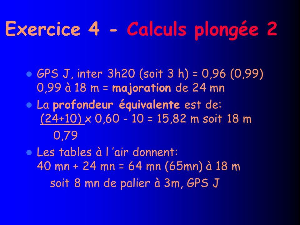 Exercice 4 - Calculs plongée 2 GPS J, inter 3h20 (soit 3 h) = 0,96 (0,99) 0,99 à 18 m = majoration de 24 mn La profondeur équivalente est de: (24+10) x 0,60 - 10 = 15,82 m soit 18 m 0,79 Les tables à l 'air donnent: 40 mn + 24 mn = 64 mn (65mn) à 18 m soit 8 mn de palier à 3m, GPS J