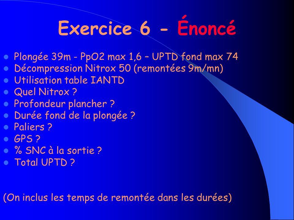 Exercice 6 - Énoncé Plongée 39m - PpO2 max 1,6 – UPTD fond max 74 Décompression Nitrox 50 (remontées 9m/mn) Utilisation table IANTD Quel Nitrox .