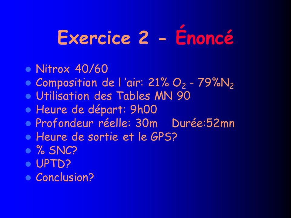 Exercice 2 - Énoncé Nitrox 40/60 Composition de l 'air: 21% O 2 - 79%N 2 Utilisation des Tables MN 90 Heure de départ: 9h00 Profondeur réelle: 30m Durée:52mn Heure de sortie et le GPS.