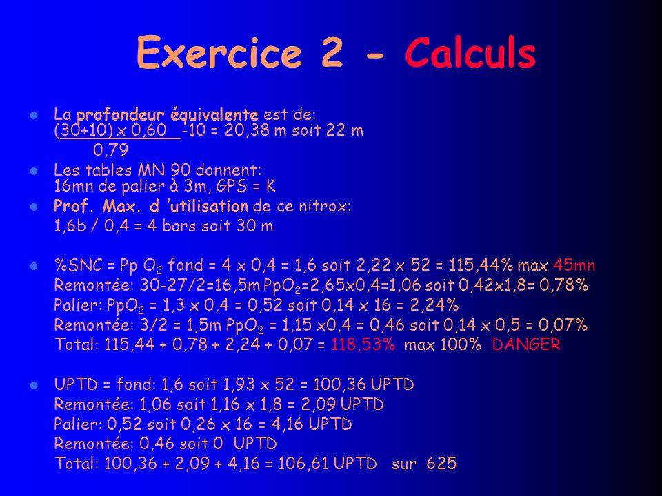 Exercice 2 - Calculs La profondeur équivalente est de: (30+10) x 0,60 -10 = 20,38 m soit 22 m 0,79 Les tables MN 90 donnent: 16mn de palier à 3m, GPS = K Prof.