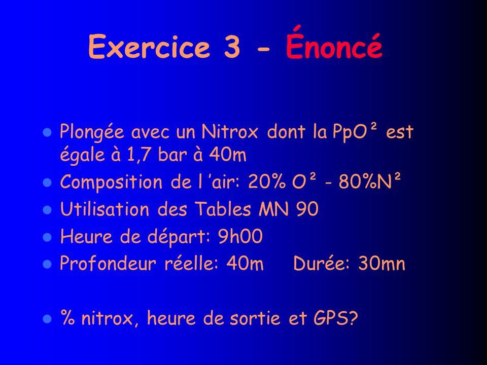 Exercice 3 - Énoncé Plongée avec un Nitrox dont la PpO² est égale à 1,7 bar à 40m Composition de l 'air: 20% O² - 80%N² Utilisation des Tables MN 90 Heure de départ: 9h00 Profondeur réelle: 40m Durée: 30mn % nitrox, heure de sortie et GPS?