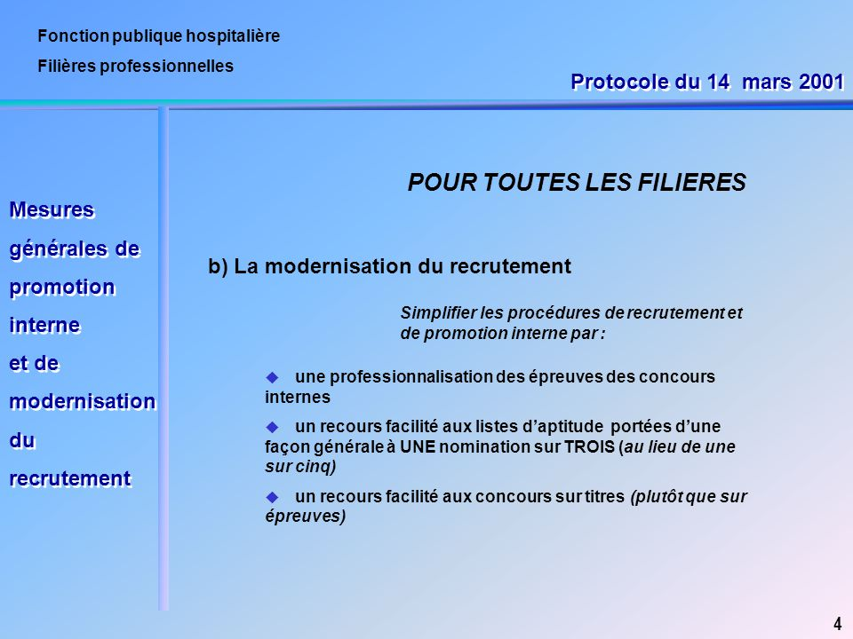 Fonction publique hospitalière Filières professionnelles b) La modernisation du recrutement 4 POUR TOUTES LES FILIERES Simplifier les procédures de re