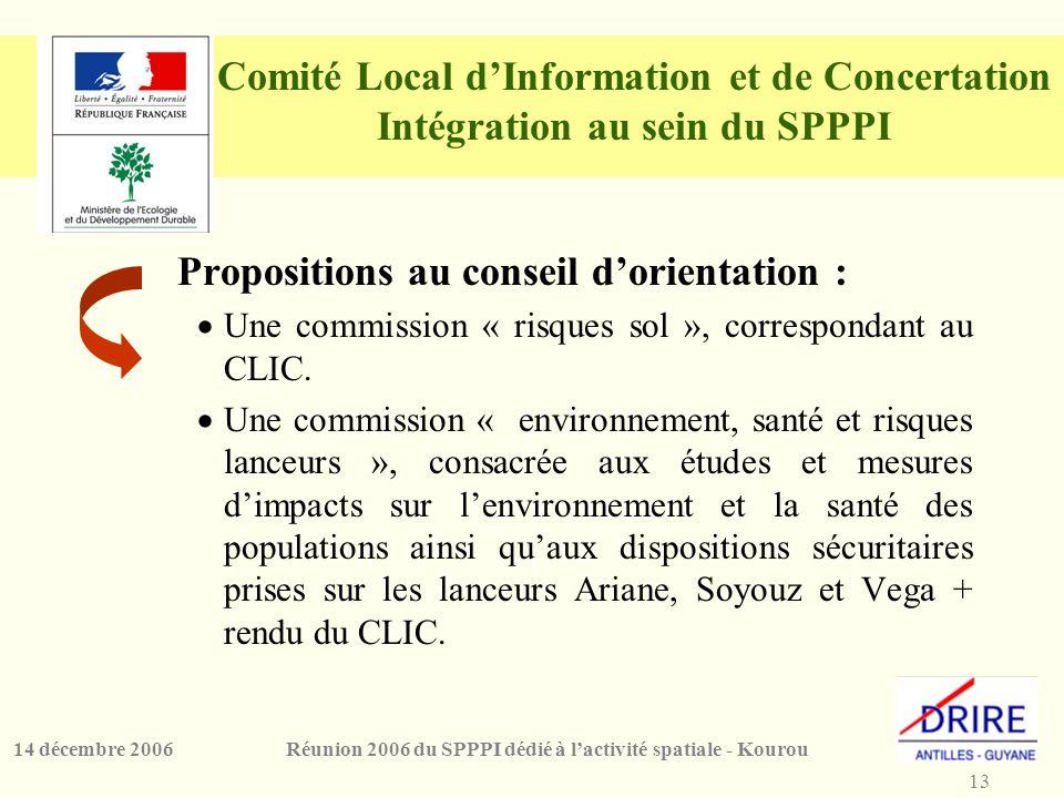 13 Réunion 2006 du SPPPI dédié à l'activité spatiale - Kourou14 décembre 2006 Comité Local d'Information et de Concertation Intégration au sein du SPPPI Propositions au conseil d'orientation :  Une commission « risques sol », correspondant au CLIC.