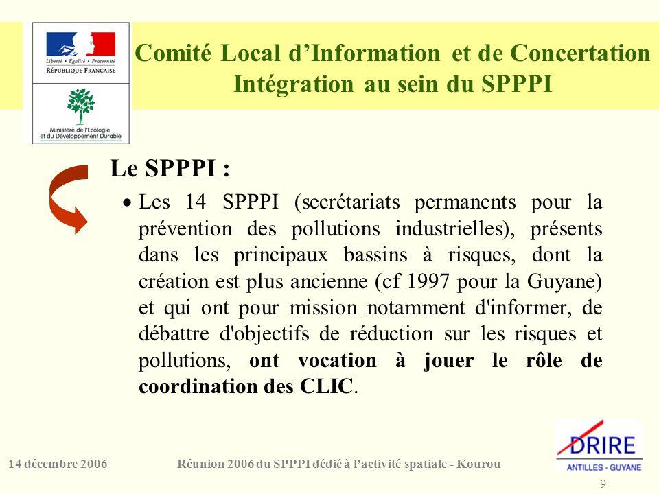 9 Réunion 2006 du SPPPI dédié à l'activité spatiale - Kourou14 décembre 2006 Comité Local d'Information et de Concertation Intégration au sein du SPPPI Le SPPPI :  Les 14 SPPPI (secrétariats permanents pour la prévention des pollutions industrielles), présents dans les principaux bassins à risques, dont la création est plus ancienne (cf 1997 pour la Guyane) et qui ont pour mission notamment d informer, de débattre d objectifs de réduction sur les risques et pollutions, ont vocation à jouer le rôle de coordination des CLIC.