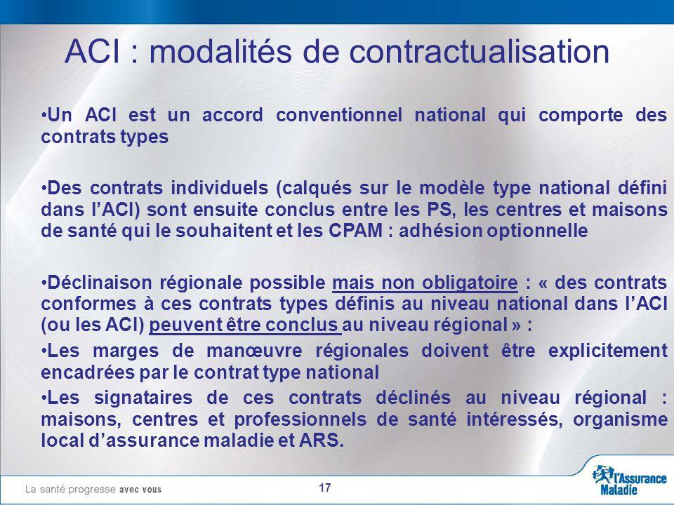 17 ACI : modalités de contractualisation Un ACI est un accord conventionnel national qui comporte des contrats types Des contrats individuels (calqués sur le modèle type national défini dans l'ACI) sont ensuite conclus entre les PS, les centres et maisons de santé qui le souhaitent et les CPAM : adhésion optionnelle Déclinaison régionale possible mais non obligatoire : « des contrats conformes à ces contrats types définis au niveau national dans l'ACI (ou les ACI) peuvent être conclus au niveau régional » : Les marges de manœuvre régionales doivent être explicitement encadrées par le contrat type national Les signataires de ces contrats déclinés au niveau régional : maisons, centres et professionnels de santé intéressés, organisme local d'assurance maladie et ARS.