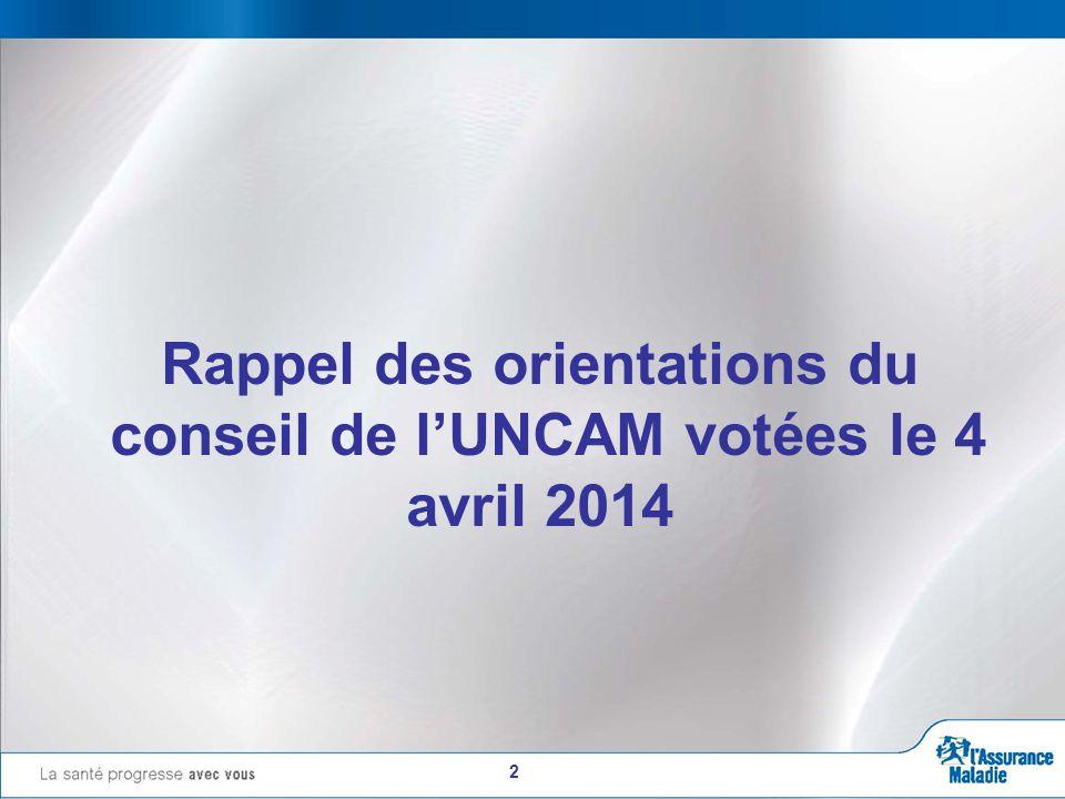 2 Rappel des orientations du conseil de l'UNCAM votées le 4 avril 2014