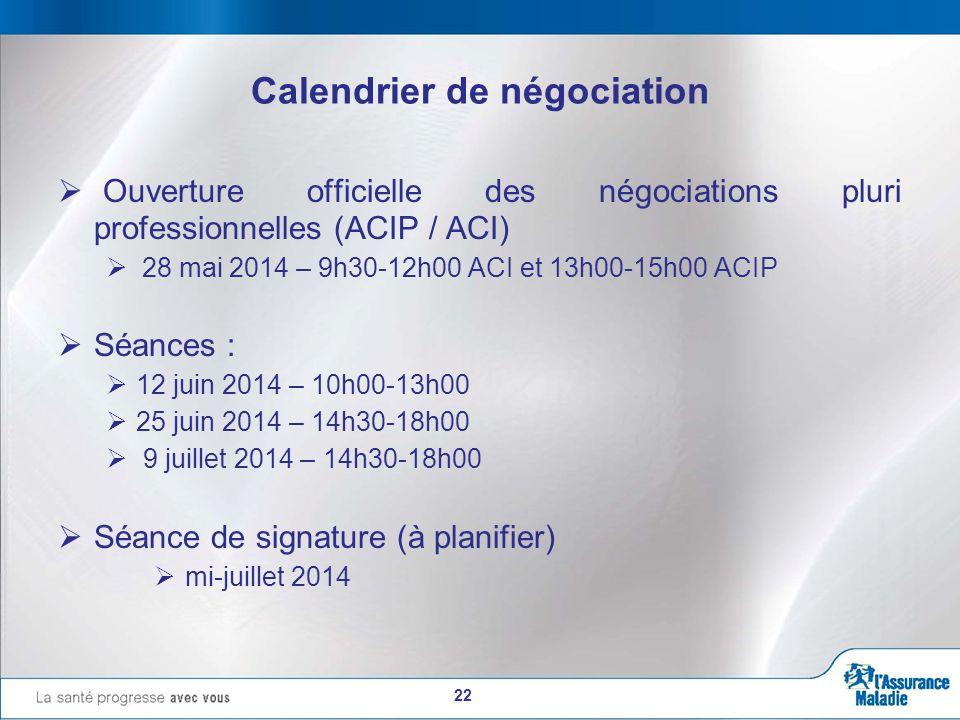 22 Calendrier de négociation  Ouverture officielle des négociations pluri professionnelles (ACIP / ACI)  28 mai 2014 – 9h30-12h00 ACI et 13h00-15h00 ACIP  Séances :  12 juin 2014 – 10h00-13h00  25 juin 2014 – 14h30-18h00  9 juillet 2014 – 14h30-18h00  Séance de signature (à planifier)  mi-juillet 2014