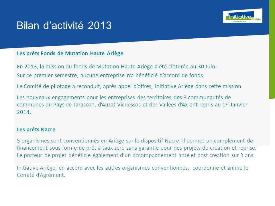 Bilan d'activité 2013 Les prêts Fonds de Mutation Haute Ariège En 2013, la mission du fonds de Mutation Haute Ariège a été clôturée au 30 Juin.