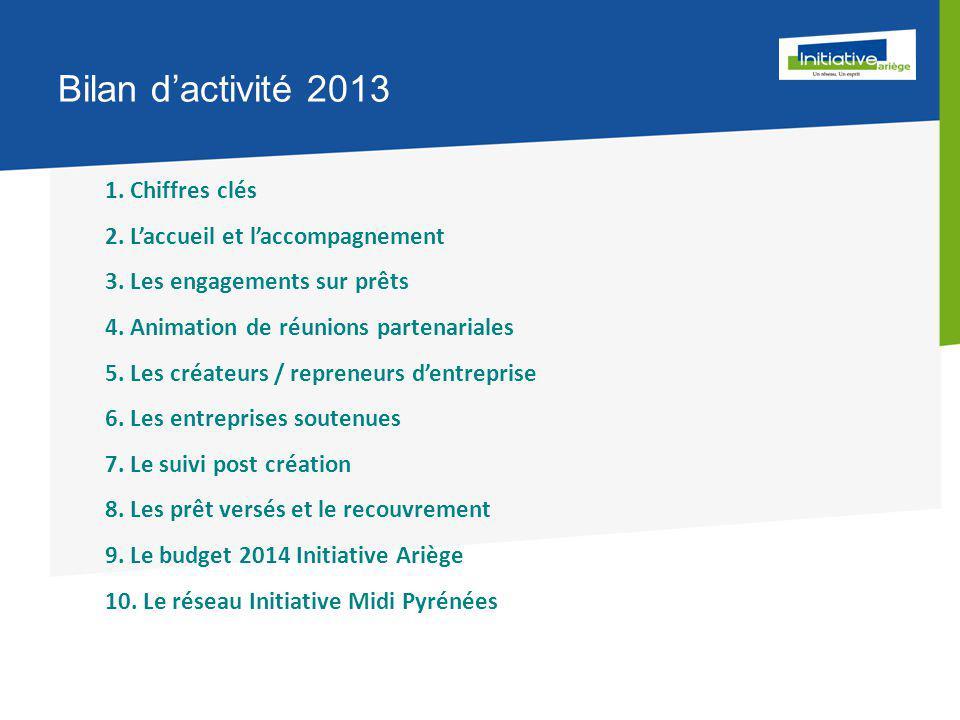Bilan d'activité 2013 1. Chiffres clés 2. L'accueil et l'accompagnement 3.