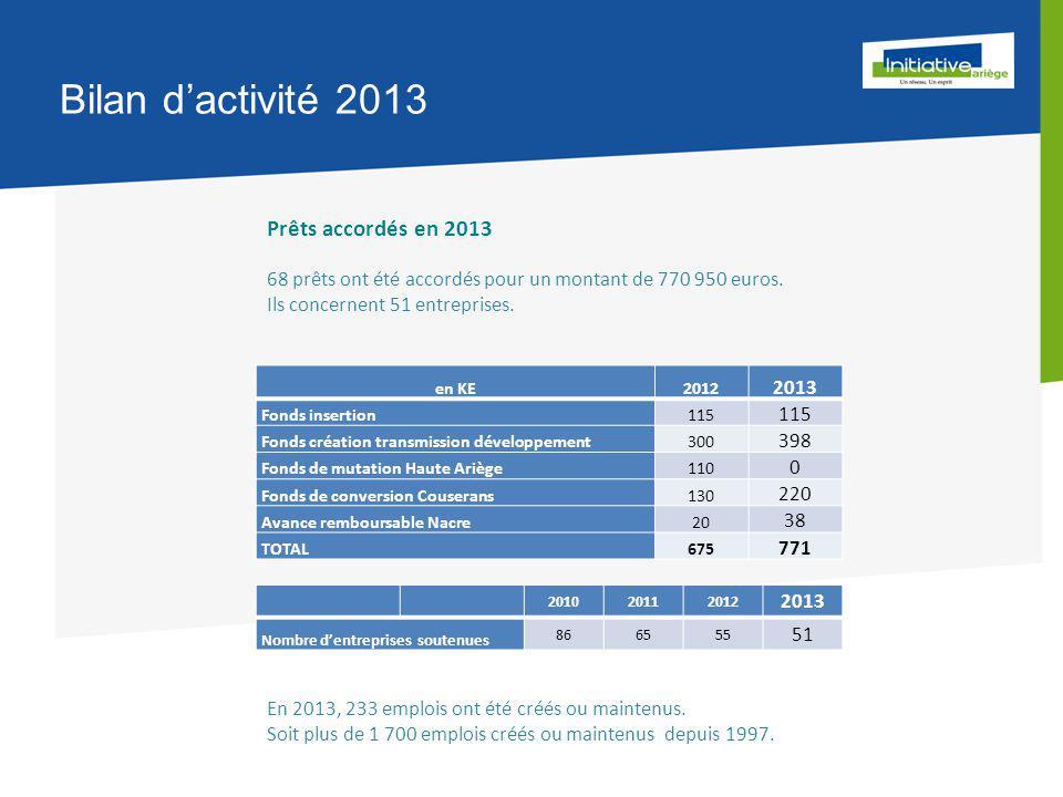 Bilan d'activité 2013 Prêts accordés en 2013 68 prêts ont été accordés pour un montant de 770 950 euros.