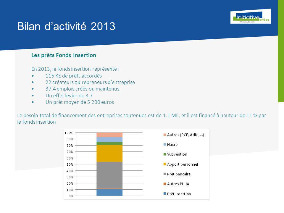 Bilan d'activité 2013 Les prêts Fonds Insertion En 2013, le fonds insertion représente : 115 KE de prêts accordés 22 créateurs ou repreneurs d'entreprise 37,4 emplois créés ou maintenus Un effet levier de 3,7 Un prêt moyen de 5 200 euros Le besoin total de financement des entreprises soutenues est de 1.1 ME, et il est financé à hauteur de 11 % par le fonds insertion