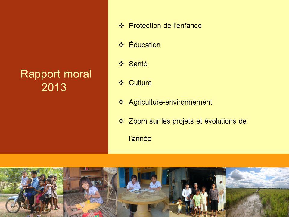 Rapport moral 2013  Protection de l'enfance  Éducation  Santé  Culture  Agriculture-environnement  Zoom sur les projets et évolutions de l'année