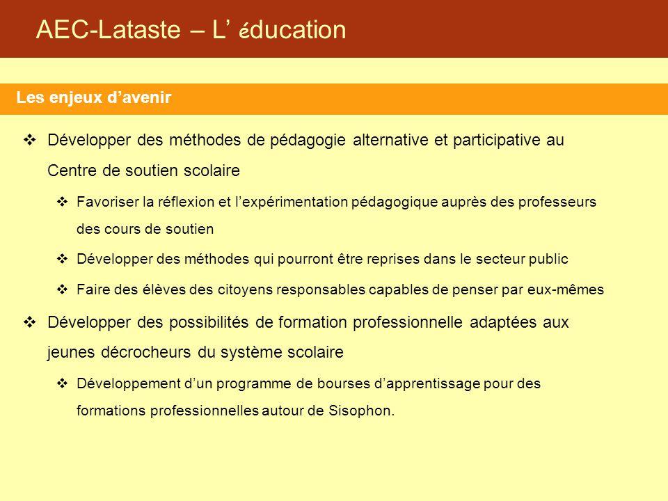 AEC-Lataste – L' é ducation Les enjeux d'avenir  Développer des méthodes de pédagogie alternative et participative au Centre de soutien scolaire  Fa