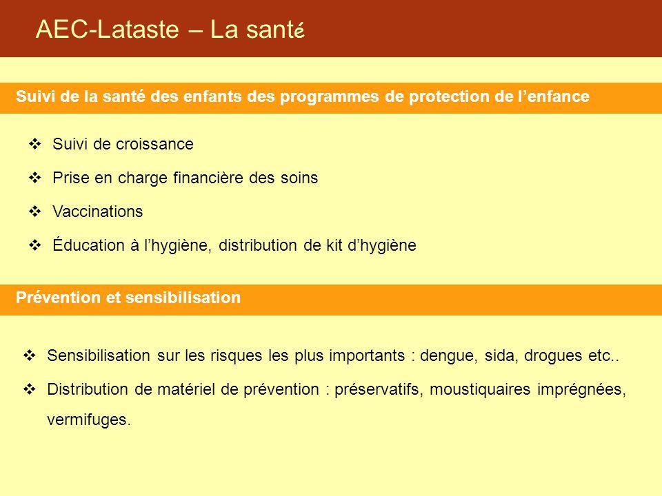 AEC-Lataste – La sant é Suivi de la santé des enfants des programmes de protection de l'enfance Prévention et sensibilisation  Suivi de croissance 