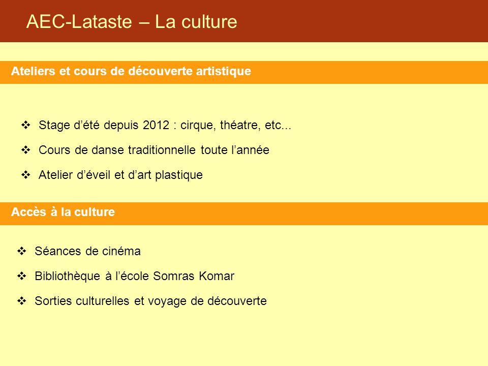 AEC-Lataste – La culture Ateliers et cours de découverte artistique Accès à la culture  Stage d'été depuis 2012 : cirque, théatre, etc...  Cours de