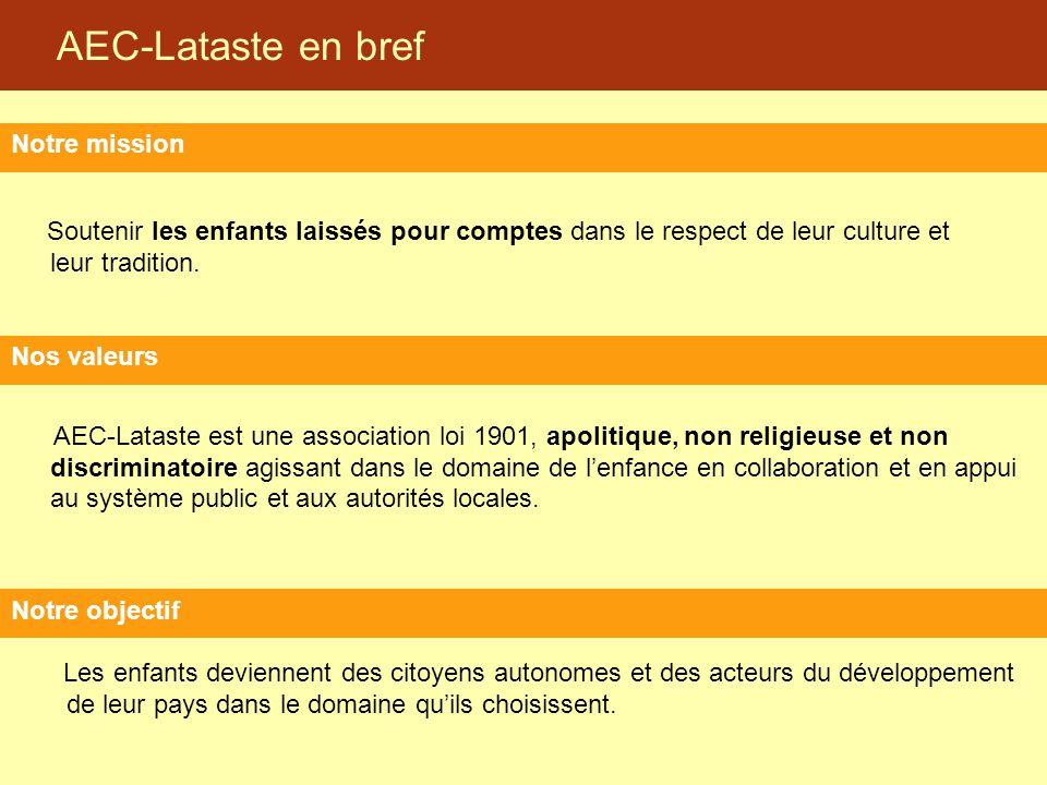 AEC-Lataste en bref Soutenir les enfants laissés pour comptes dans le respect de leur culture et leur tradition. Notre mission Notre objectif Les enfa