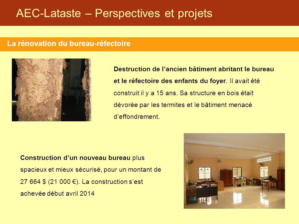 AEC-Lataste – Perspectives et projets La rénovation du bureau-réfectoire Destruction de l'ancien bâtiment abritant le bureau et le réfectoire des enfa