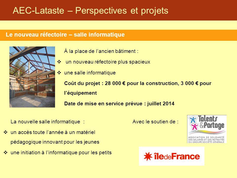 AEC-Lataste – Perspectives et projets Le nouveau réfectoire – salle informatique À la place de l'ancien bâtiment :  un nouveau réfectoire plus spacie